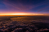 beautiful sunset above the clouds, Coast of the Baltic sea, Denmark