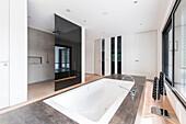 modern bathroom in an architecture house in the Bauhaus style, Oberhausen, Nordrhein-Westfalen, Germany