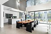 kitchen of a modern architecture house in the Bauhaus style, Oberhausen, Nordrhein-Westfalen, Germany