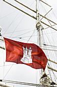 Mast of the Rickmer Rickmers and Hamburg flag, museum ship, Hamburg, Germany