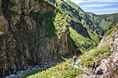 Long Distance Hiking, Mountain Landscape, Watercourse, Mountain River, Gorge, Hiking Holiday, Nature, Summer Flowers, Alpine Meadow, Hiking Trails, Allgaeu, Alps, Bavaria, Oberstdorf, Germany, Alps, Germany