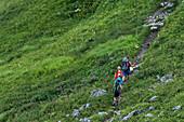 Fernwanderweg, Berglandschaft, Gipfel, Wanderurlaub, Familienurlaub, Wandern, Natur, Hüttentour, Sommerwiese, Blumenwiese, Alpine Wiese, Wanderwege, Oberallgäu, Alpen, Bayern, Oberstdorf, Deutschland
