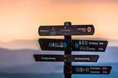 Harz, Saxony-Anhalt, mountain, climatic health resort, winter sports resort, recreation area, family vacation, hiking, landscape, sunset, dusk, signpost, signage, information signs, scouting, Germany