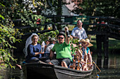 Spreewald Biosphere Reserve, Brandenburg, Germany, Hiking, Kayaking, Recreation Area, Family Vacation, Family Outing, Paddling, Rowing, Wilderness, Excursion, Day Trip, River Landscape, Boat, Punt, Passengers, Wedding Party with bride and groom