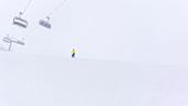 Germany, Bavaria, Alps, Oberallgaeu, Oberstdorf, Fellhorn Winter Landscape, Winter Holidays, Winter Sports, Downhill Skiing in a blizzard