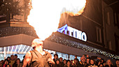 Germany, Bavaria, Alps, Oberallgaeu, Oberstdorf, Stillachtal, Winter Holidays, Event, Fire Show, Fire Breather, Christmas