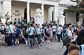 public school shortly before class starts, colonial town, family travel to Cuba, parental leave, holiday, time-out, adventure, Cienfuegos, Cuba, Caribbean island