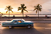 Oldtimer driving along the Malecon of Cienfuegos, meeting point in the evening and at night, nightlife, empty street, palm tree, colonial town, family travel to Cuba, parental leave, holiday, time-out, adventure, Cienfuegos, Cuba, Caribbean island