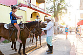 horses in the city of Trinidad, family travel to Cuba, parental leave, holiday, time-out, adventure, Trinidad, province Sancti Spiritus, Cuba, Caribbean island