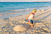 Little girl playing on Cayo Coco beach, sandcastle on a sandy dream beach, turquoise blue sea, Memories Flamenco Beach Resort, hotel, family travel to Cuba, parental leave, holiday, time-out, adventure, MR, Cayo Coco, Jardines del Rey, Provinz Ciego de Áv