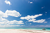 dream beach at Cayo Levisa, swimming, beach holiday, tourists, lonely beach at Cayo Levisa, beautiful small sandy beach, turquoise blue sea, palm tree, family travel to Cuba, parental leave, holiday, time-out, adventure, Cayo Levisa, day trip from Vinales