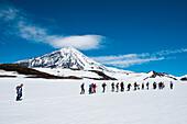 Hikers walk in snow-covered landscape with Koryaksky volcano behind, near Petropavlovsk-Kamchatsky, Kamchatka, Russia, Asia