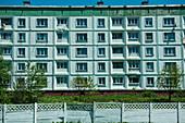 A typical Russian apartment block, Kosakov, Sachalin Island, Russia, Asia