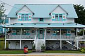 Decorations on this house show the town's Scandinavian influence, Petersburg, Mitkof Island, Alaska, USA, North America