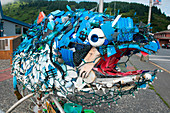Salmon sculpture made entirely of washed up plastic, Kodiak, Kodiak Island, Alaska, USA, North America