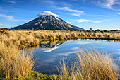 Vulcano Mount Egmont reflecting in lake, person standing in background, Egmont National Park, Taranaki, North island, New Zealand