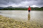 Frau wandert durch Meeresarm auf Muschelbank zu, Awaroa, Abel Tasman Coastal Track, Great Walks, Abel Tasman Nationalpark, Tasman, Südinsel, Neuseeland