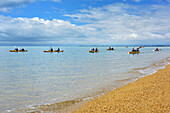 Several persons kayaking in Tasman Bay, Abel Tasman National Park, Tasman, South island, New Zealand