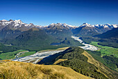 View to Dart River Valley, Glenorchy, Paradise and Southern Alps, from Mount Alfred, Fiordland National Park, UNESCO Welterbe Te Wahipounamu, Queenstown-Lake District, Otago, South island, New Zealand