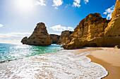 Beach and coloured rocks, Praia da Marinha, Carvoeiro, Algarve, Portugal