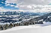 snowy landscape, Ofterschwanger Horn, Hoernerdoerfer, Allgau, Baden-Wuerttemberg, Germany, Europe