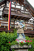 Timber-frame house, Corpus Christi, Feast of Corpus Christi, procession, Sipplingen, Lake Constance, Baden-Wuerttemberg, Germany, Europe