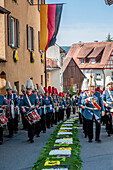 Traditional band playing for the Corpus Christi procession, Feast of Corpus Christi, Sipplingen, Lake Constance, Baden-Wuerttemberg, Germany, Europe