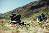 Shoes on a field in greenland, greenland, arctic.