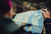 People discussing a route, greenland, arctic.