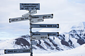 Distance sign in Longyearbyen, Spitzbergen Svalbard.