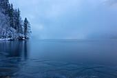 Frozen Koenigssee, Koenigssee, Berchtesgaden, Bavaria, Germany