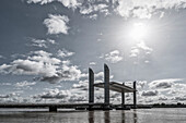 Pont Jacques Chaban Delmas, highest lift bridge in europe, Bordeaux, Gironde, Aquitane, France , Europe
