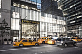 Trump Tower, golden entrance sign, fith avenue, taxi,  New York City, United States of America