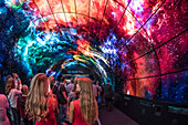 IFA Berlin 2017, Internationale Funkausstellung Berlin , LG OLED Tunnel, Messestand zum Thema Fernsehen von LG,  Messebesucher, 4k screen tunnel