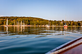 Yachts at the Sunset at the Ammersee lake, Bavaria, Germany, Europe
