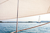 View from the skiff at the Ammersee, Ammersee lake, Bavaria, Germany, Europe