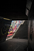 subway with graffiti, Belfast, Northern Ireland, United Kingdom, Europe