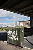 Stromkasten mit einem Tag (Graffiti), Belfast, Nordirland, Vereinigtes Königreich Großbritannien, UK, Europa