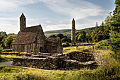 St. Kevin's church and round tower, Glendalough Monastic Site, County Wicklow, Ireland, Europe