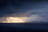 dramatic thunderstorm light mood at Blasket Islands, Geokaun mountain, Valentia Island, County Kerry, Ireland, Wild Atlantic Way, Europe