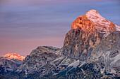 Tofana at morning light, Cortina d' Ampezzo, Dolomites, UNESCO World Heritage Site Dolomites, Venetia, Italy