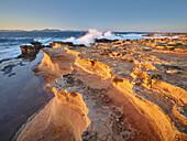 sandstone formations at The coast at Betlem, Badia d'Alcudia, Mallorca, Balearic Islands, Spain