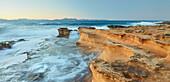 sandstone formations on the coast at Betlem, Badia d'Alcudia, Mallorca, Balearic Islands, Spain