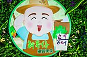 A gardener advertising billboard at a street market, Hong Kong, China, Asia
