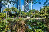 Hong Kong Park on Hong Kong Island with views of the surrounding skyscrapers and the Two International Finance Centre, Hong Kong, China, Asia
