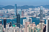 View from the local mountain The Peak at Hong Kong Island, Kowloon and Victoria Harbour, Hong Kong, China, Asia