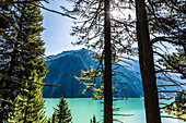 The Zillertal Alps with the Schlegeisspeicher reservoir, Ginzling, Zillertal, Tyrol, Austria