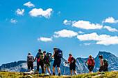Hikers in the Zillertal Alps above the Schlegeisspeicher reservoir, Ginzling, Zillertal, Tyrol, Austria