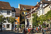 Square in Old Town with restaurants, Meersburg, Lake Constance, Baden-Württemberg, Germany