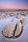 Striped rock eggs with sandstone at dawn, Bisti Badlands, De-Nah-Zin Wilderness Area, New Mexico, USA